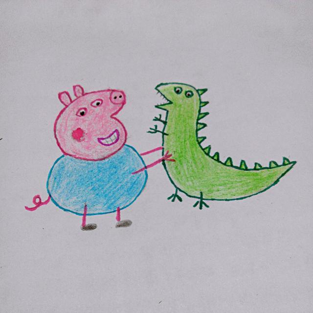 幼儿创意简笔画 乔治和他的恐龙先生,很简单哦,我们一