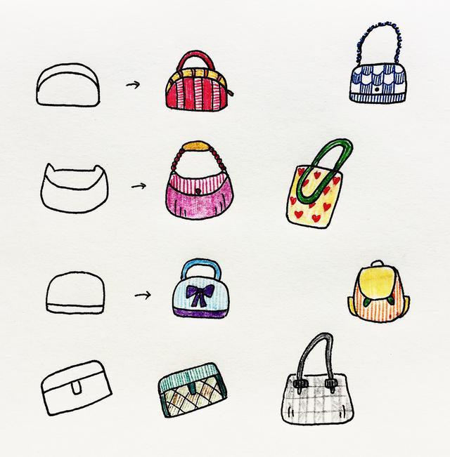 爱美术,爱生活,手帐中的简笔画——包包,配饰!