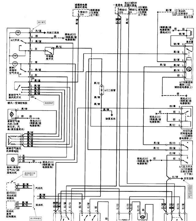 1、认真读几遍图注 图注说明了该汽车所有电气设备的名称及其数码代号,通过读图注可以初步了解该汽车都装配了哪些电气设备。然后通过电气设备的数码代号在电路图中找出该电气设备,在进一步找出相互连线、控制关系。 2、牢记电气图形符号 汽车电路图是利用电气图形符号来表示其构成和工作原理的。因此,必须牢记电路图形符号的含义,才能看懂电路原理图。 3、熟记电路标记符号 为了便于绘制和识读汽车电器电路图,有些电器装置或其接线柱等上面都赋予不同的标志代号。 4、牢记汽车电路特点 汽车电路的特点是:  单线制  负极搭铁