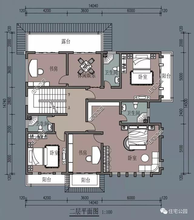农村自建房的典范, 14x14米方正别墅, 6室2厅最适合农村人!