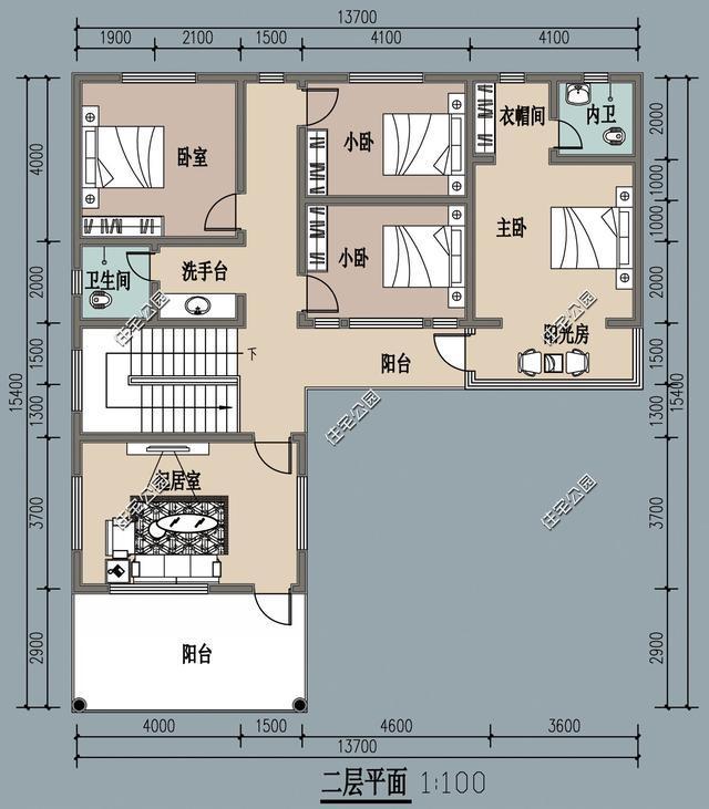 农村小院户型2:带二楼的更加适合南方农村,院子相对小一些,房间可以