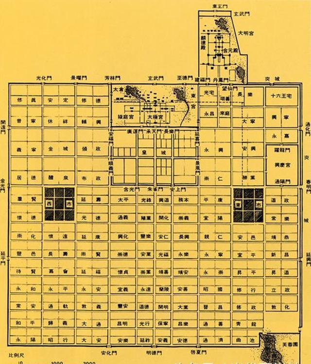唐朝长安城平面图