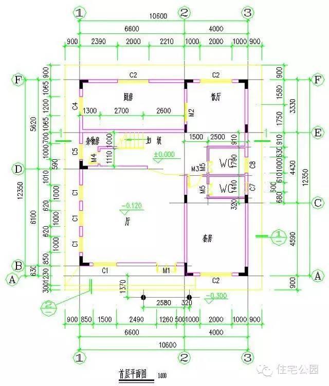 10套新农村自建房别墅设计图户型一 长宽:11.4×10.