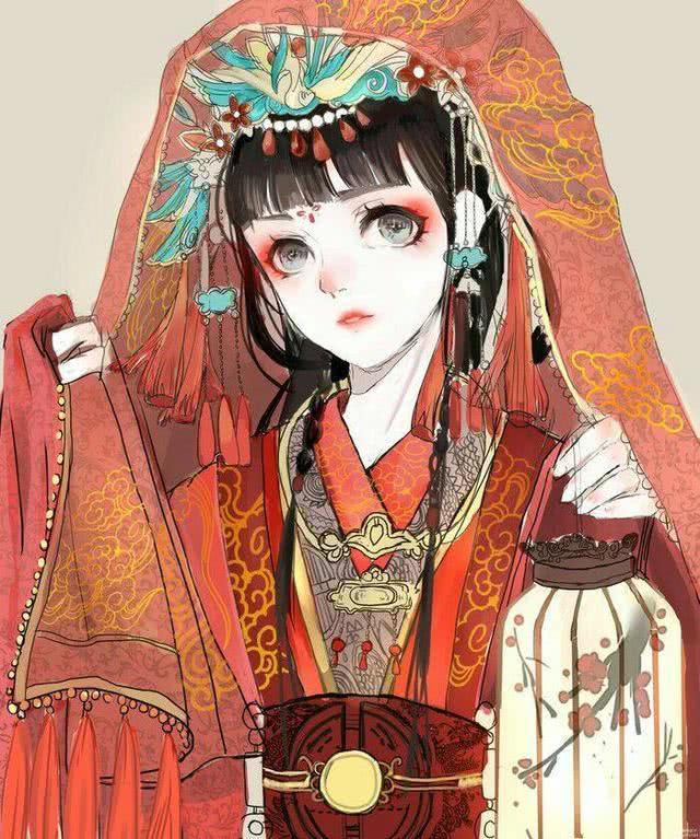 古风凤冠女子手绘
