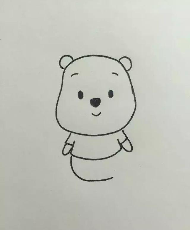 亲子漫画丨小熊维尼简笔画教程,超简单图片