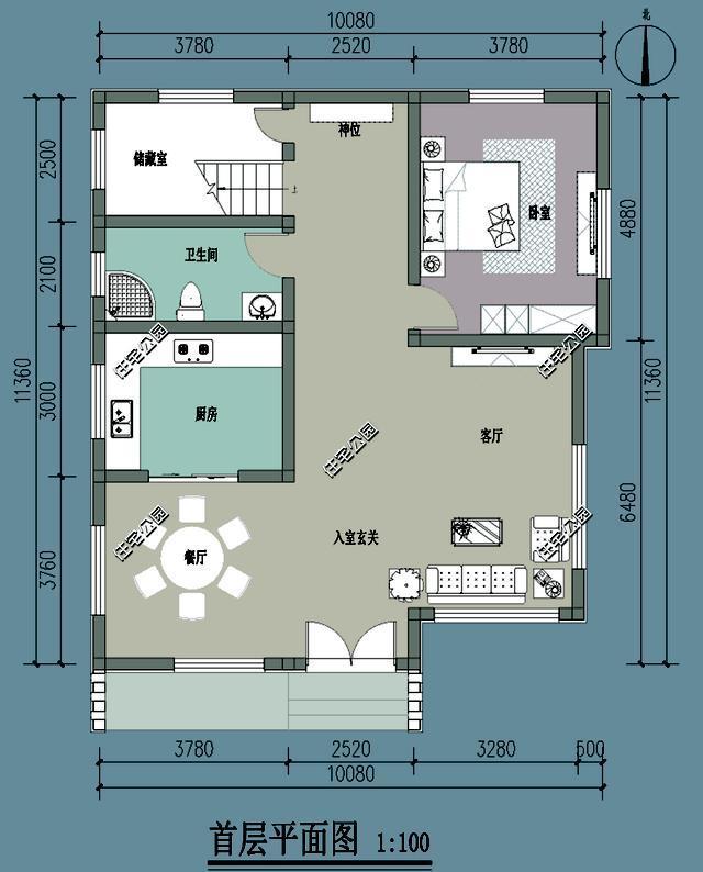农村建房做民宿,10米x11米层层露台,这个平面图方案就