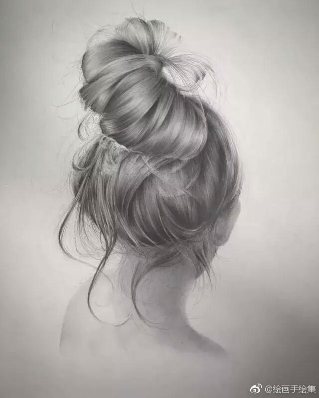 素描手绘,发型