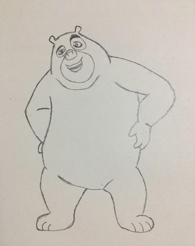 简笔画——熊出没熊二的画法