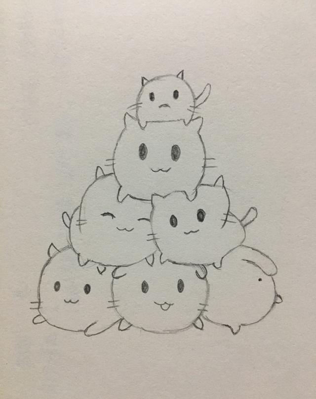 猫妈妈生了一窝小猫咪,它们可爱极了,想象一下,它们堆在一起是什么样