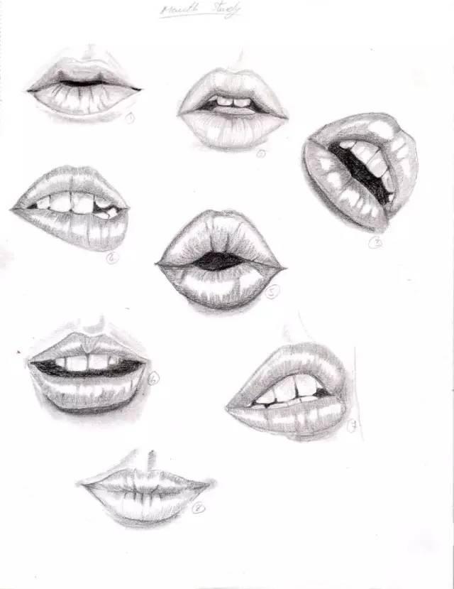 嘴部表现步骤的要点分析 1,对象上嘴唇空间感较弱,起稿时强调上唇