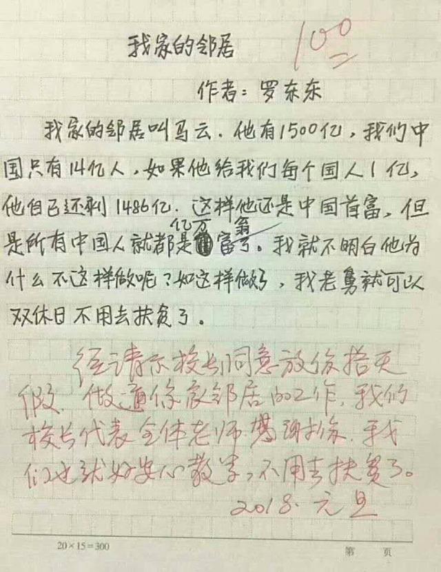 小学生作文题目大全_有一个小学生写了一篇作文,题目是《我家的邻居》,作文只有简短的几