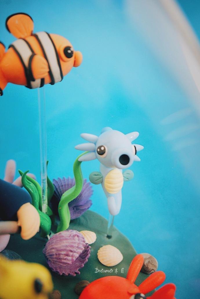 diy创意粘土: 极具创意的 海底世界 许愿瓶制作教程
