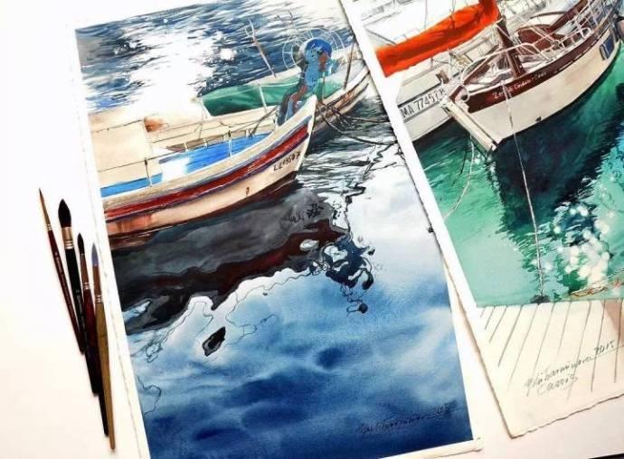 水彩手绘~逼真的水面 julia barminova