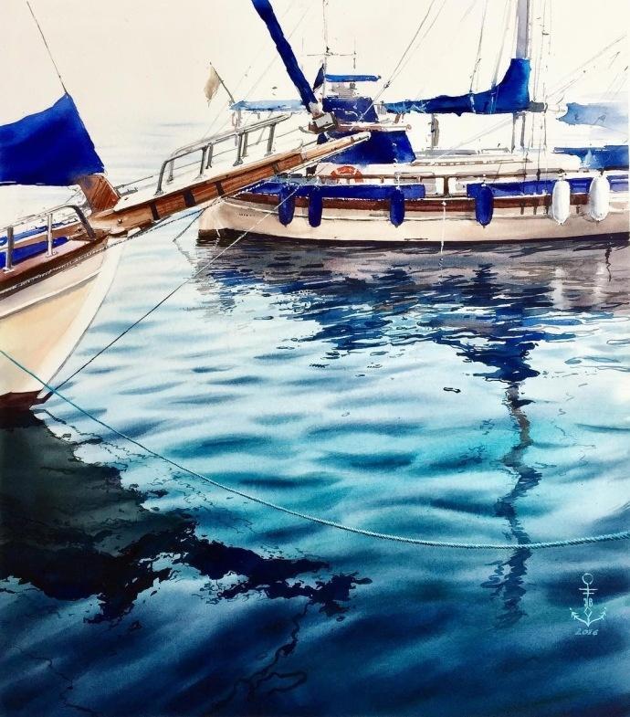水彩手绘~逼真的水面|julia barminova