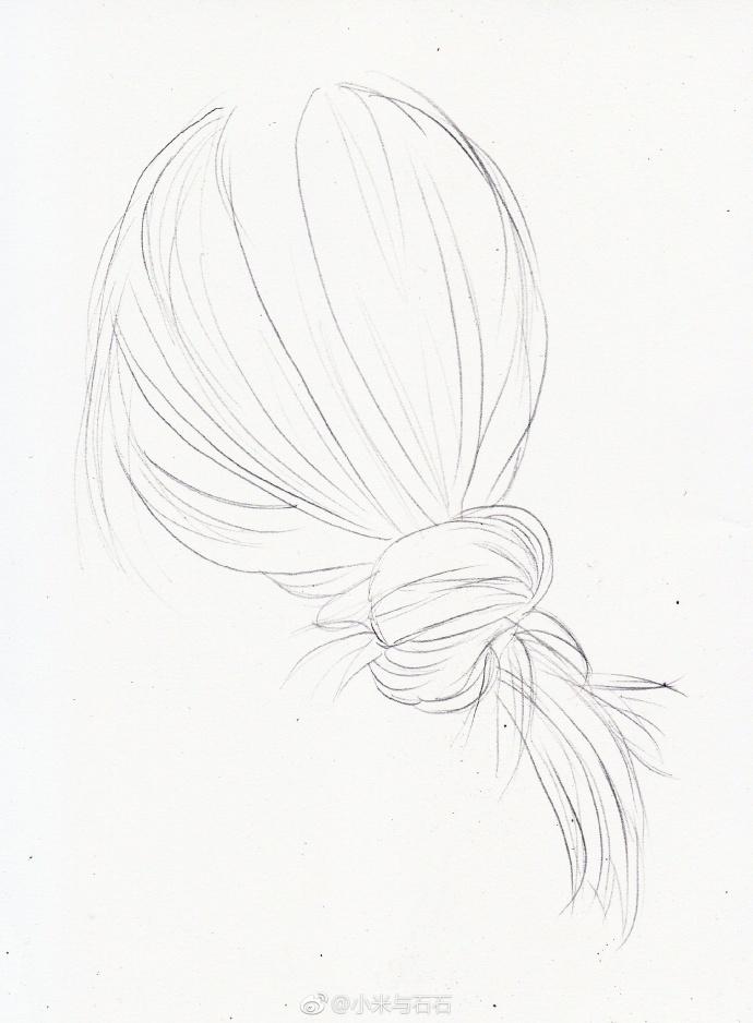 彩铅手绘-头发 作者: 2小时教你12个颜色画一幅唯美马尾
