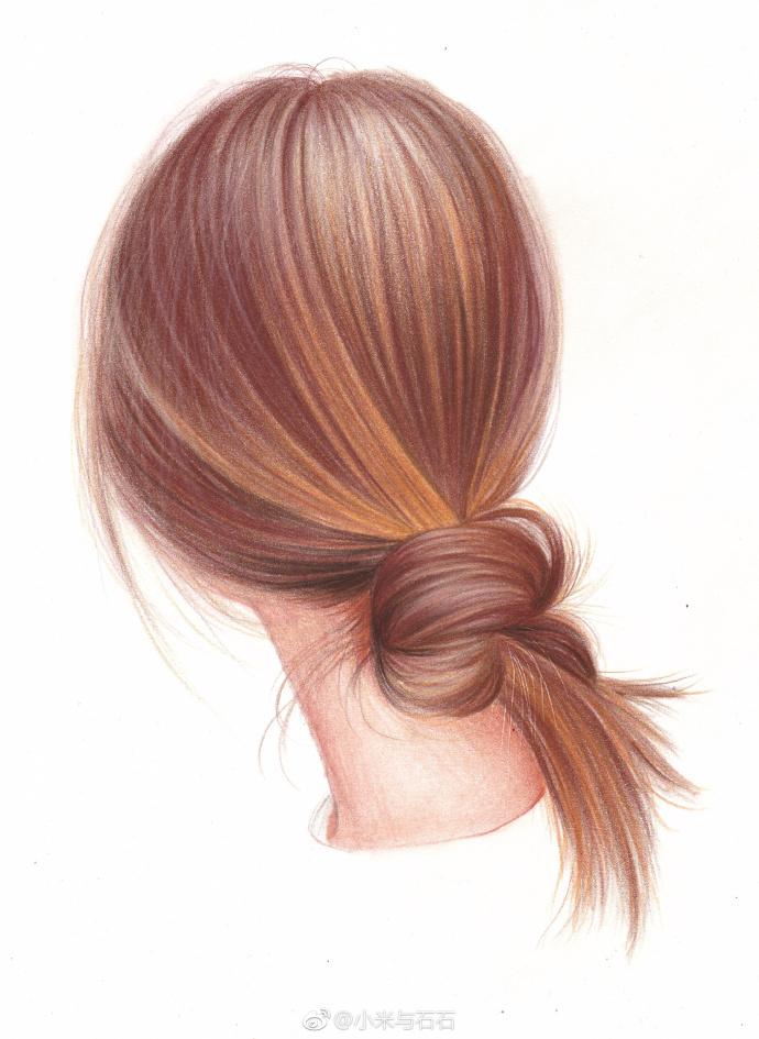 彩铅手绘-头发 作者: 2小时教你12个颜色画一幅唯美马尾图片