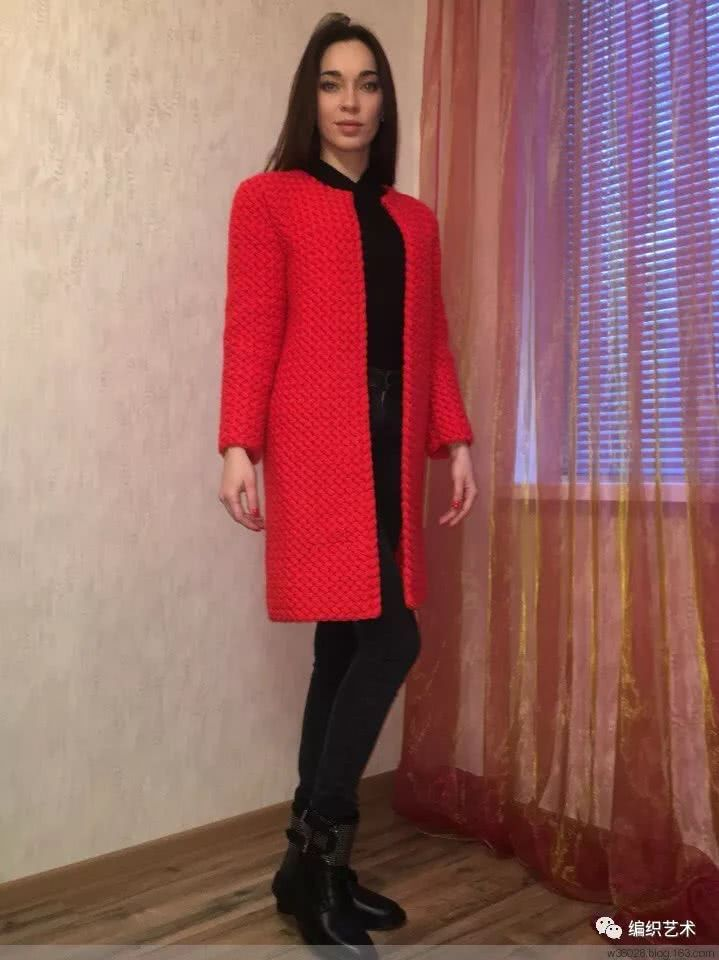 红色钩针外套,附花样图解