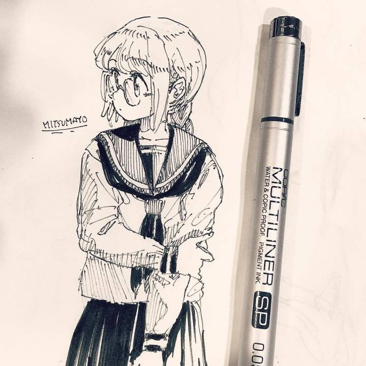 手绘黑白卡通人物 | 插画师日本 mitsumayo