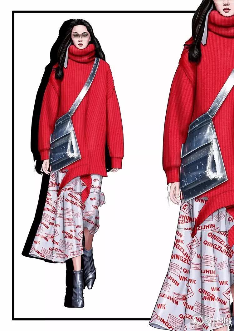 青子襟/ps ai cdr服装手绘效果图分享