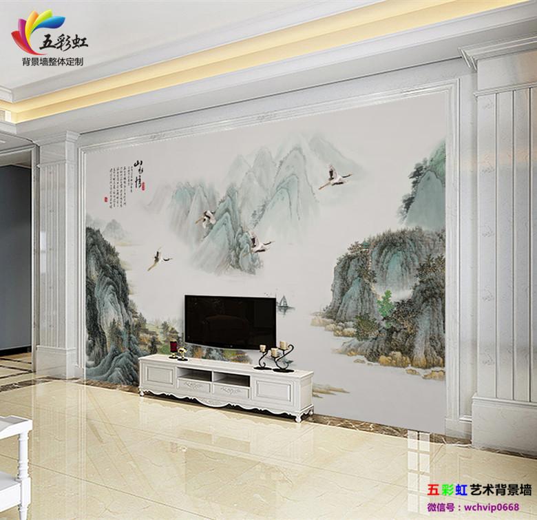 9,新中式电视背景墙搭配石材家居装饰整体设计效果图 禅蓄意,意容景