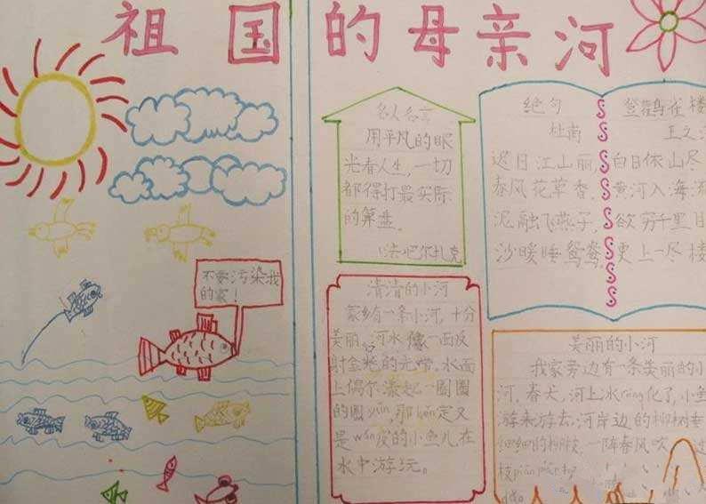 保护母亲河日手抄报图片!
