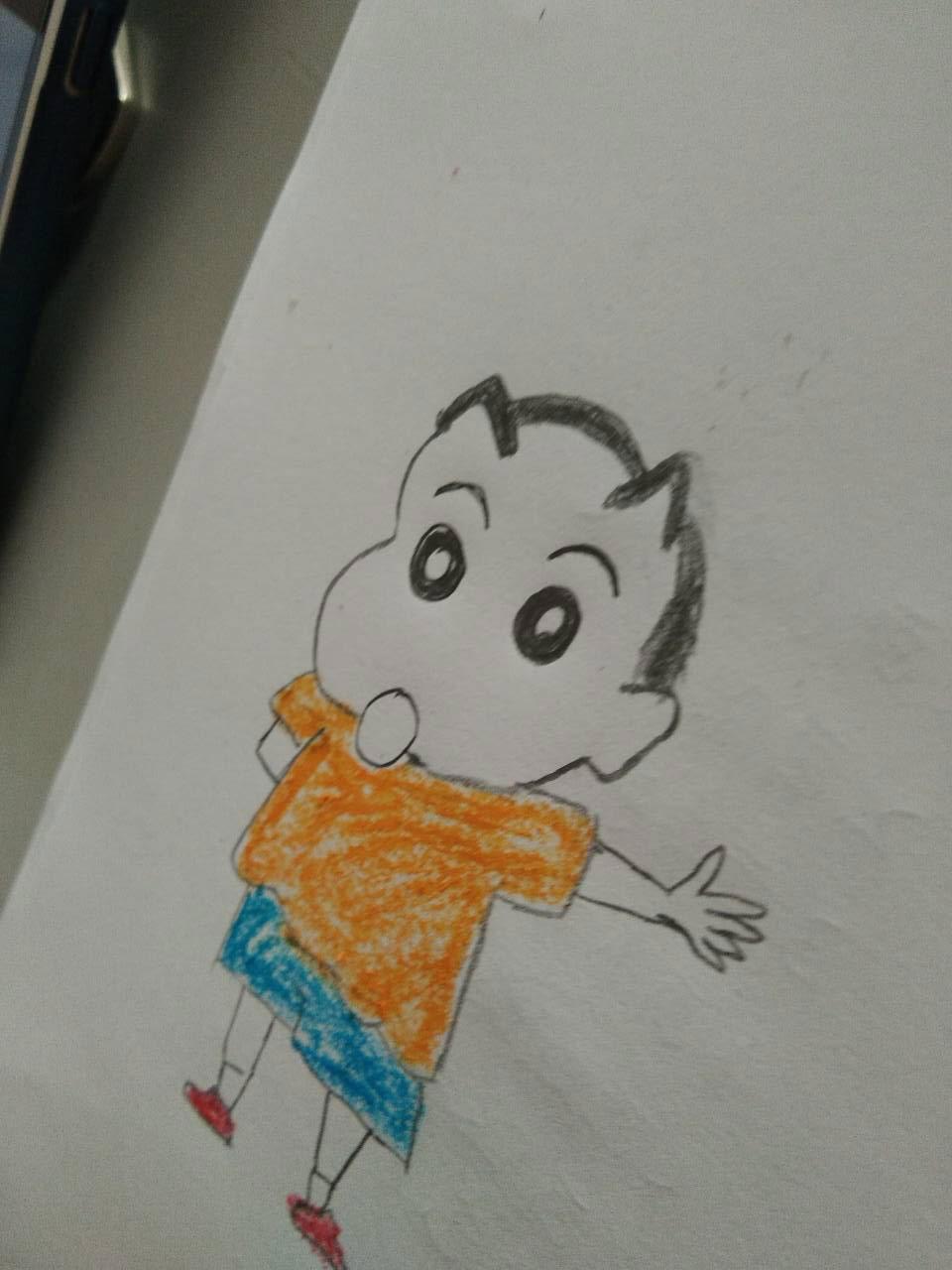 动画片里的小新铅笔画画法 晨晨姐姐绘画小课堂之蜡笔