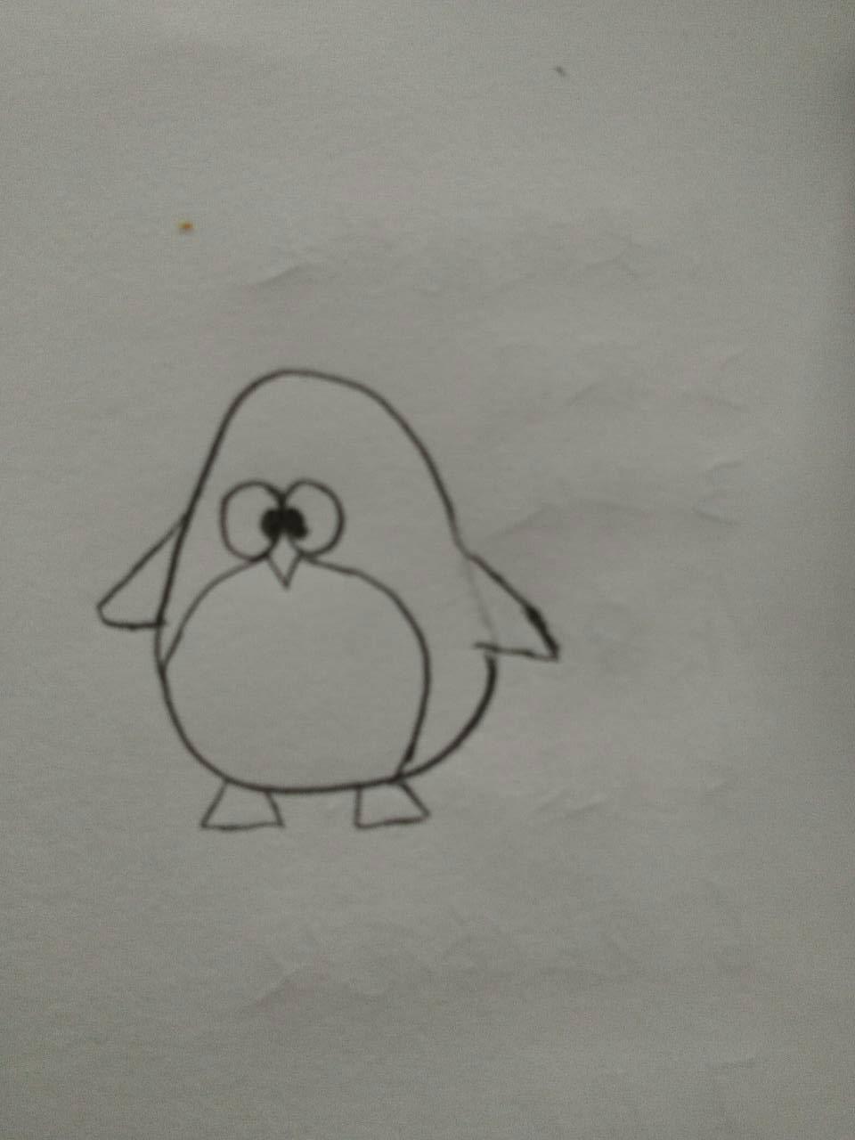 铅笔画小企鹅的绘画画法 如何用铅笔画一只可爱的小企鹅步骤图