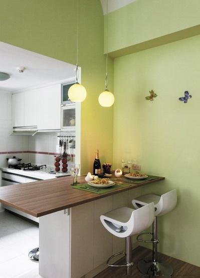 小户型的客厅和厨房是最合适做吧台隔断