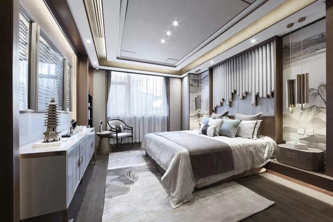 新中式别墅里的四间卧室,分别是主人房,老人房,男小主人房_新浪看点