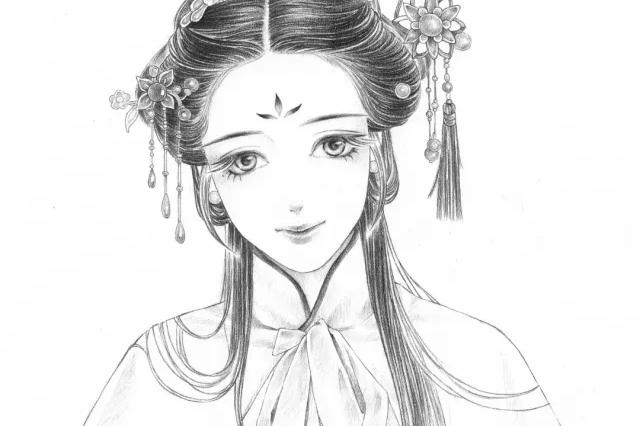 手绘古风教你用简单铅笔画出超细腻古风美女