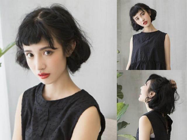 适合大脸女生的4款黑发发型,让你从大脸秒变小v脸!图片