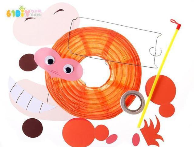 中秋节幼儿园猴子灯笼手工教程,幼师宝妈亲子diy素材图片