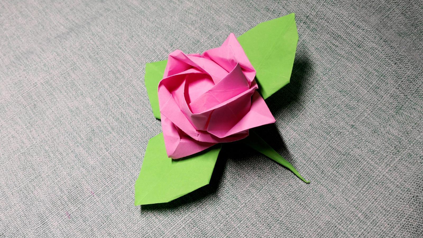 川崎玫瑰花叶子的折叠方法树叶手工折纸视频教程
