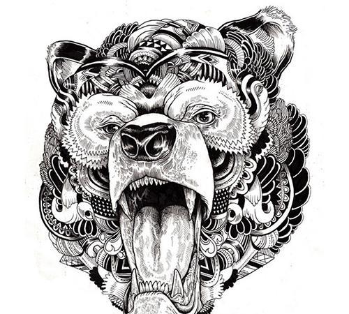 黑白针管笔手绘动物插画,装饰画来一波
