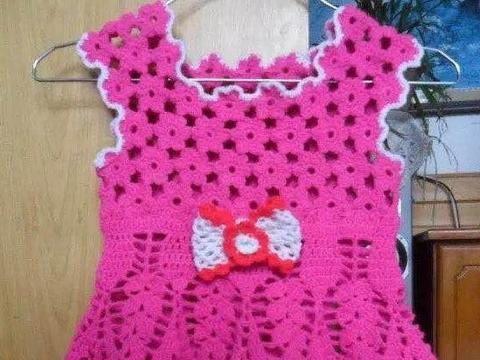 手工编织毛衣款式儿童小背心连衣裙的钩法详细教程, 给宝宝来一件