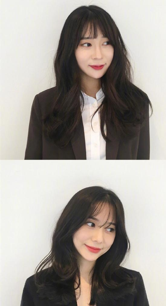 只需配上韩式空气刘海,分分钟up甜美指数呢,配上披肩中长卷发,绝对美图片