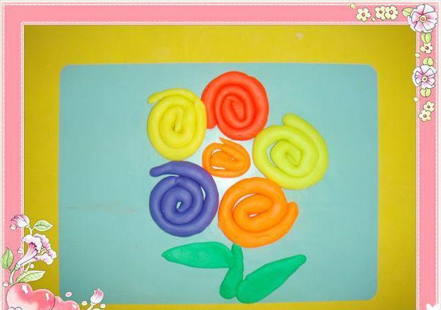 幼儿园手工——泥工制作:彩虹花|彩虹|橡皮泥|花心