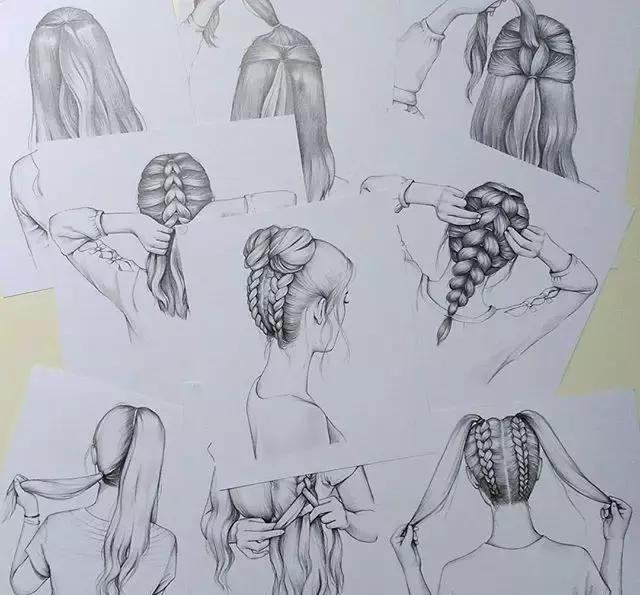素雅女孩手绘背面图