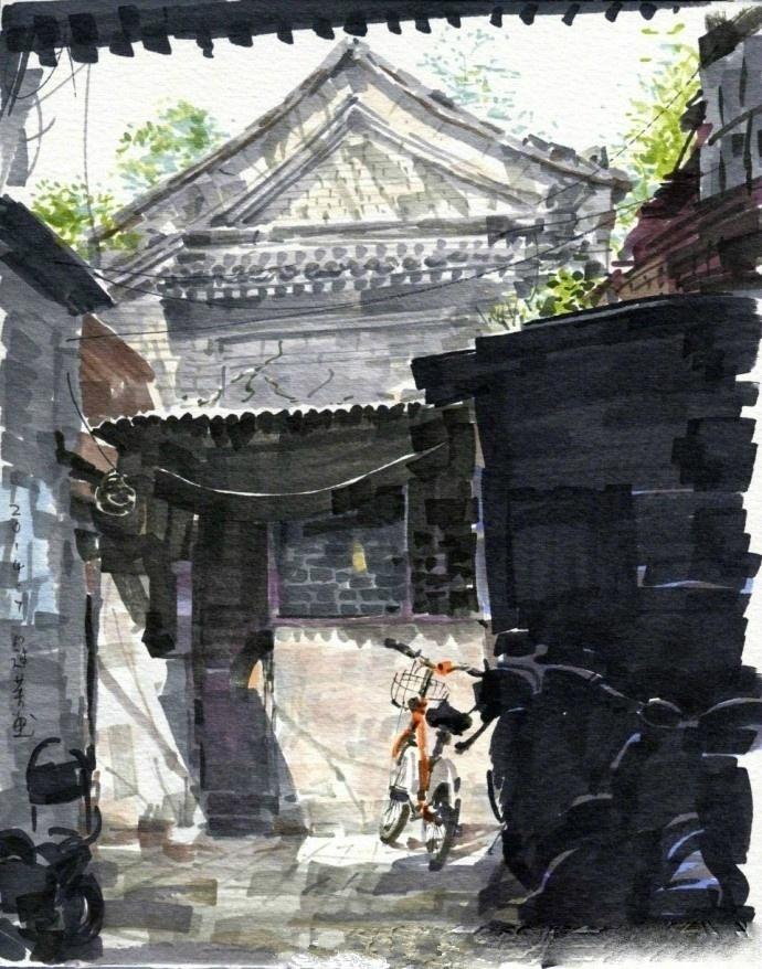 北京胡同马克笔手绘 | 作者: 吴冠英老师