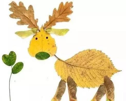 孩子超爱玩的22个树叶拼贴画,幼儿园,一二年级