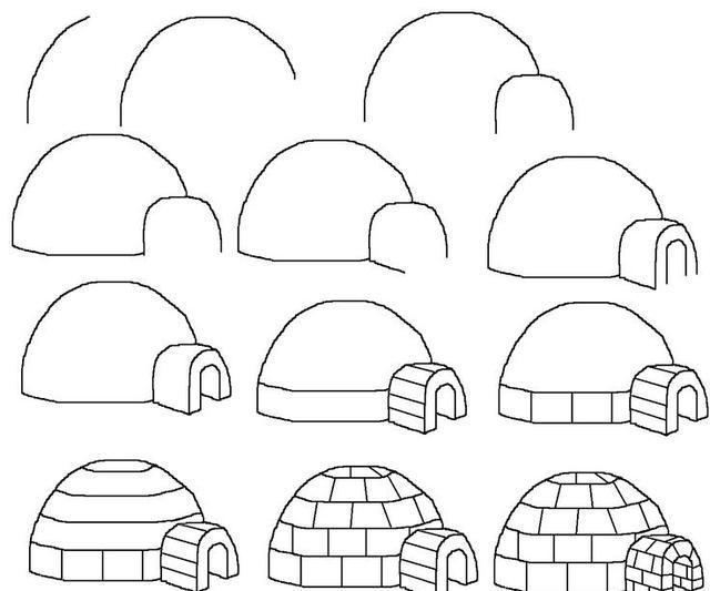 育儿简笔画8种类型的房子,亲子绘画素材图片