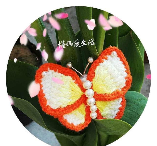 钩织与刺绣结合的一款蝴蝶胸针,主要看气质!