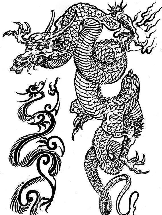 雕刻师龙纹身素描手稿图片