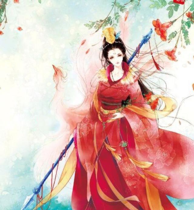 古风手绘画:谁说女子不如男,彪悍的古风红衣女将军.