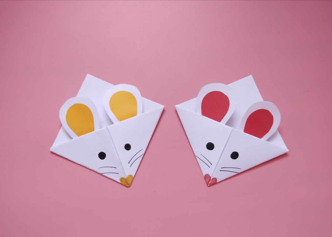 教你自制可爱的老鼠书签,简单几步就做好,手工折纸图解教程