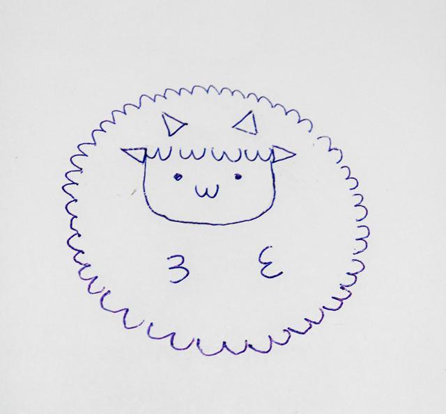 幼儿创意简笔画 用瓶盖和3画绵羊,很简单哦