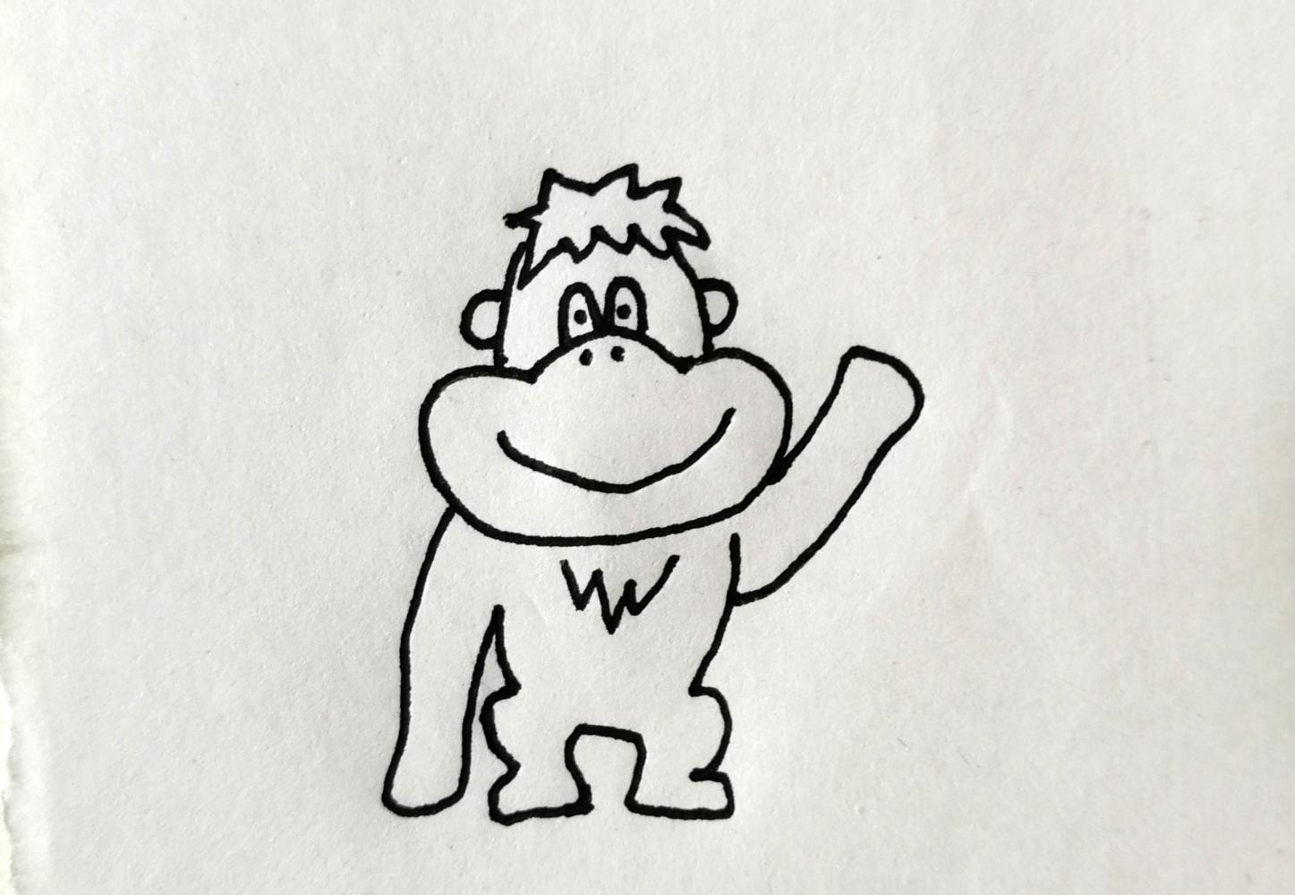 简笔画—大猩猩, 简单3步画出大猩猩, 小朋友一看就会