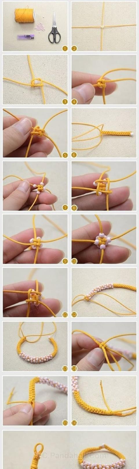 串珠 绳编手链教程