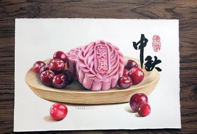 彩铅手绘-中秋月饼