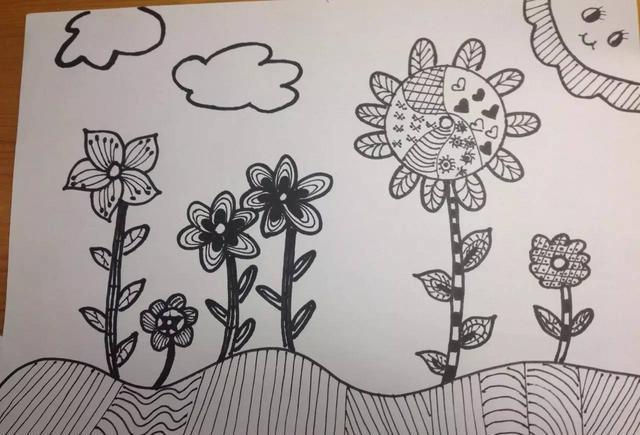 教孩子怎么用线描画勾画小区里美丽的花园图片